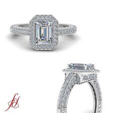 1.50 Carat Emerald Cut Diamond Pave Set Vintage Milgrain Halo Engagement Ring