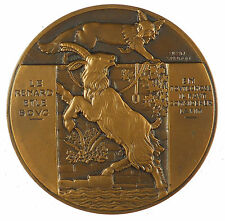 Fontaine's Fable THE FOX AND THE GOAT Le Renard et le Bouc by Vernon bronze 59mm