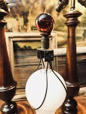 Vintage Aladdin ? Red Glass Marble Lamp Finial w/ Clip On Bulb Mounting Wire