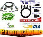 CAVO HDMI 3 IN 1 FULL HD 1080P 1.5 M + ADATTATORI MINI HDMI E MICRO HDMI DORATI