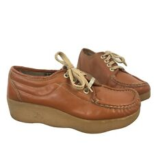 Famolare Get There Oxford Wavy Sole Shoes 70's Brown Size 8.5 N Vtg
