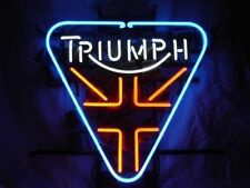 Neon Sign Triumph British Motorcyle Real Glass Tube Signs Bar Club 17''X14''