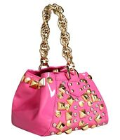 VERSACE for H&M HM PINK PATENT LEATHER GOLD SILVER STUDDED DROP HANDLE BAG BNWT