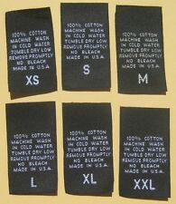 100 pcs BLACK WOVEN CLOTHING CARE LABEL SIZE TAG- 100% COTTON - XS S M L XL XXL