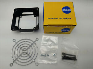 NEW Akasa Mount 80mm PC Cooling Fan on 60mm Fitting Adapter Bracket Kit w/ Guard