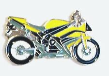 Yellow Sports Motorbike Pin Badges