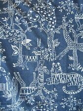 VINTAGE UNUSED LIGHTWEIGHT COTTON ANIMAL SAFARI JUNGLE BLUE FABRIC 4 YDS