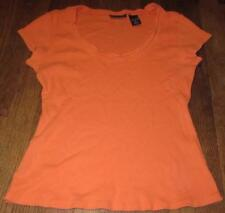 WOMENS LADIES NY NEW YORK CO S/S ORANGE RIBBED COTTON TOP SHIRT BLOUSE~SIZE M~EC