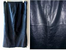 VTG 80s 100% Black Soft Leather Wiggle Pencil Midi/Maxi Length skirt Sz 8