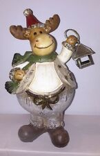 Christmas Reindeer Xmas Decoration With Green Scarf & Lantern . Gift Ornament
