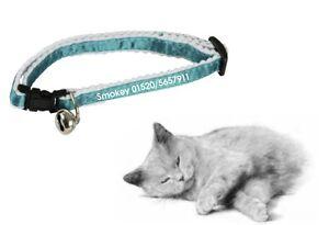 Katzenhalsband, bedruckt mit Namen & Telefon-Nr für ihren Liebling, Farbe blau