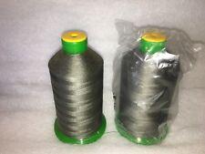 heavy duty sewing thread 2 rolls bonded nylon no 40 grey/green colour