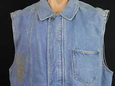 Fila Sleeveless Denim Jacket  Blue Stonewashed Mens XL Excellent Condition EUC