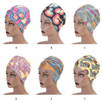 Arab Women Elastic Cotton Turban Hat Print Long Tail Cap Muslim Scarf Wrap Hijab