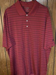 adidas polo golf shirt Mens dark red black stripes xxl 2xl