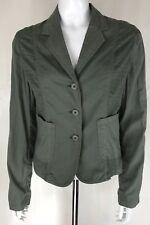 Jigsaw Khaki Green 100% Cotton Jacket UK Size 8-10 Lightweight Pockets