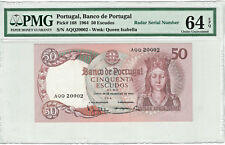 Portugal 50 Escudos 1964 RARE Radar# 20002 PICK#168  PMG-64EPQ Choice Unc.(#878)