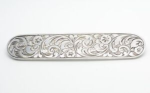 Beautiful Victorian Silver Engraved Brooch