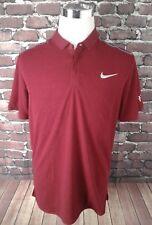 Men's Nike Dri-Fit Robert Federer RF Burgundy Maroon Tennis Polo Shirt Size L
