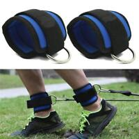 Gym Weight Lifting D Ring Ankle Straps Cable Attachment Strap Fitness Exercise S