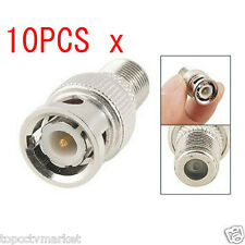 10x BNC Male Plug to F Female Jack Adapter Coax Connector Coupler CCTV Camera LW
