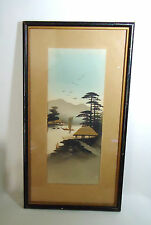 VTG Japanese Landscape Painting with Gold Accents River - Sail Boat - Cottage