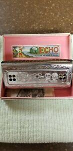 Vintage M. Hohner Harmonica 55/80 C & G The Echo Harp Germany w/Orig. Box