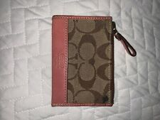 coach card wallet, pink leather at bottom of wallet