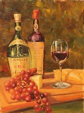 Original Oil Painting Cognac Wine Cheese Still Life  Impressionism 12x16 Haigh