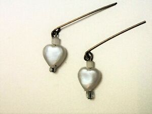 Antique French Doll Petite Pearl Heart Drop Earrings Bisque