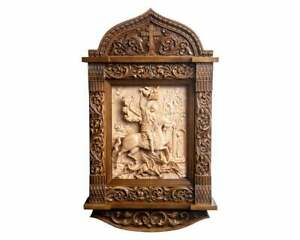 """27.5"""" St George Icon Unique Bas-Relief Wooden Carved Kiot Christian Icon Gift"""