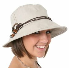 Womens Ladies Beige Sun Hat with Shapeable Brim with Beaded Rope String One Size