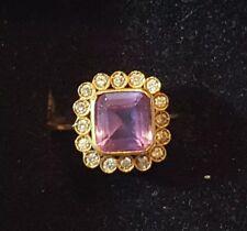 "Yellow Gold 10k square Amethyst & Diamond ring size 5 1/2"" 16mm"