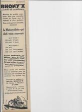 Publicité ancienne octobre 1928 Moto Rhony'x Lyon Pub 32.5 x 7.5