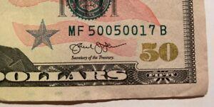$50 Dollar Bill 2013 Circulated Fancy Repeater Serial Number MF 500 500 17 B