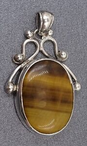 Womens Mens Tiger Eye and Sterling Silver 925 Pendant Gemstone Fine Jewellery
