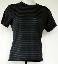 Chico's Deisgn Black w/ Sheer Sparkle Stripes Nylon/Spandex S/S T-Shirt 1 M