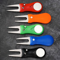 Stainless Steel Foldable Switchblade Divot Repair Tool with Golf Ball Marker US