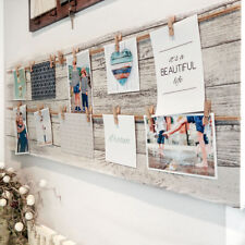 Fotorahmen mit Leine, inkl. 12 Klammern, Fotocollage, Portrait, Weiß/Grau/braun