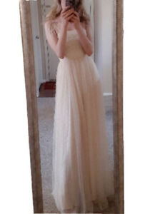 Champagne Beige Nude Tulle Ruched Rhinestone Jeweled Prom Gown Size S NEW
