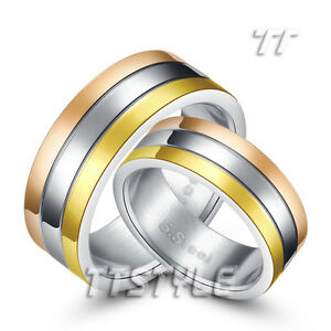 Top TT Silver Gold Rose Stripe S.Steel Engagement Wedding Band Ring For Couple