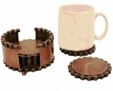 Recycled Bike Chain Set Of 4 Coasters In Stand Bronze Coloured Fair Trade NA2427