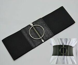 10cm Wide Black Big Ring Zipper Buckle Girl Woman Stretch Elastic Waist Belt LH1