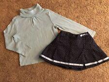 Vguc Gymboree Petite Mademoiselle Blue Dot Pleats Wrap Skirt Blue Turtleneck 4-5