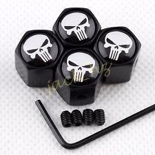 Antitheft BLACK  Wheel Tire  Valve Stem Air Caps Kit Skull Head Caribbean Pirate
