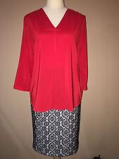 NWT The Limited Red 3/4Sleeve Polyester Spandex Blouse Sz. M