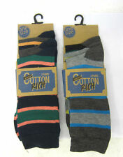 MENS COTTON RICH STRIPED SOCKS SIZE 7-11 MULTIPACK 3 STRIPEY PAIRS - SK041
