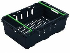 More details for 10x 35 litre – stacking & nesting bale arm plastic storage boxes in black