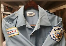 VINTAGE 1980s FASHION CHICAGO IL POLICE OFFICER SHORT SLEEVE XL SHIRT PATCHES PD