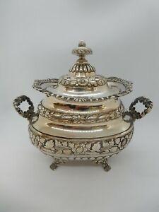 Portuguese Solid Silver LARGE Lidded SUGAR Bowl, OPORTO, C.1850. 698g